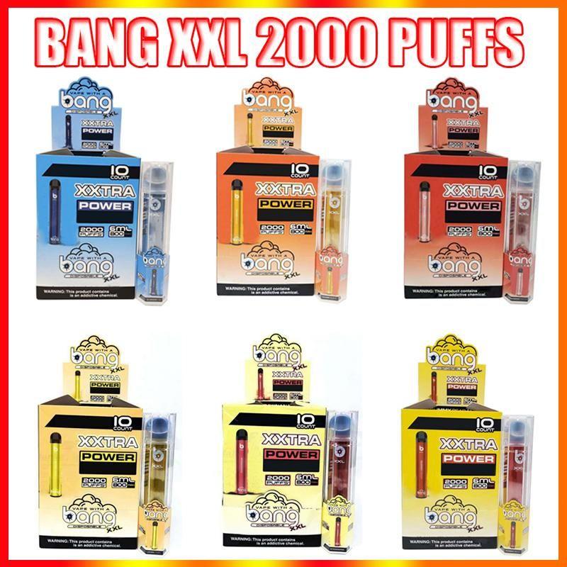 Bang XXL Tek Kullanımlık Vape Kalem Elektronik Sigara Cihazı 800 mAh Pil 6 ml Pods Boş Orijinal Vaporlar 2000 Puffs Pro Max Anahtarı Duo 2500Puffs Kit Toptan