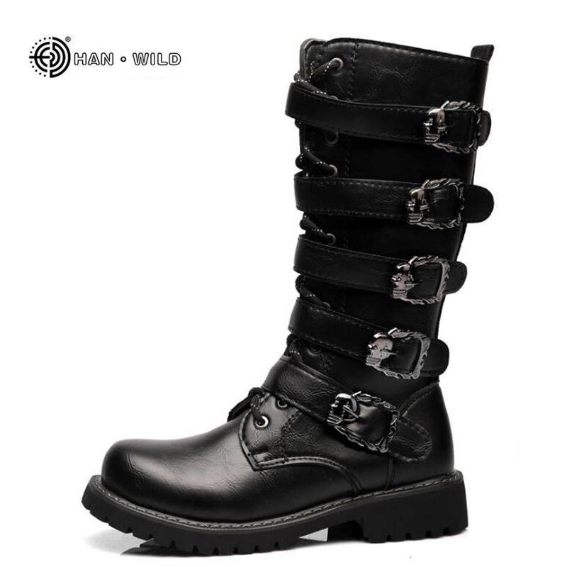 Kış Erkekler Motosiklet Botları Moda Orta Buzağı Punk Kaya Punk Ayakkabı Erkek PU Deri Siyah Yüksek Top Rahat Boot Man 201215