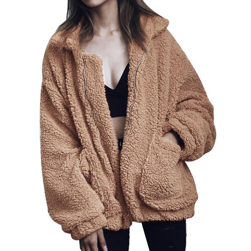 Elegante cappotto di pelliccia finto donna 2021 autunno inverno inverno caldo giacca di pelliccia con cerniera morbida femmina peluche in peluche tasca tasca casual orsacchiotto