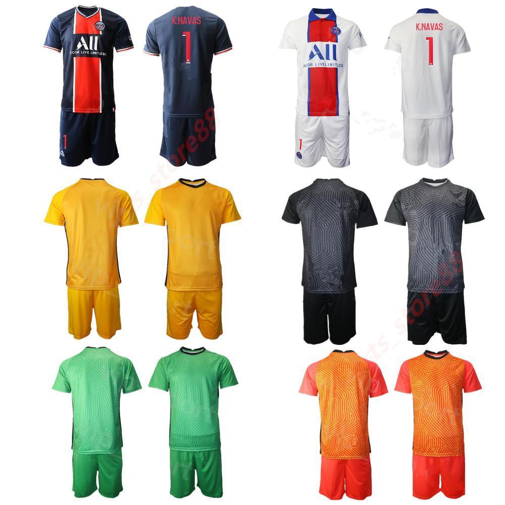 Hombres 2020 GK 1 Keylor Navas Manga Larga Portero Jersey Set Portero Sergio Rico 16 Areola Bulka Trapp Football Kit de camisa