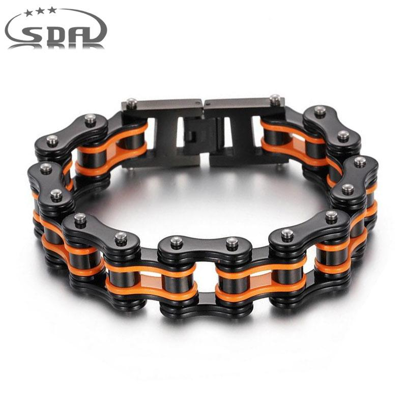 SDA Men Black Orange Stainless Steel Link Chain Bracelets & Bangles Men's Biker Motorcycle Bracelet 7 8 9 10 INCH