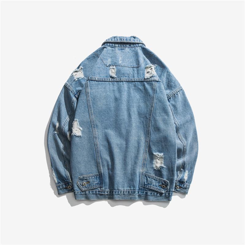E-Baihui 2020 Новый мужской свободный хип-хоп джинсовая куртка Европейский и американский стиль разорванные отвороты с длинным рукавом джинсовая куртка S036