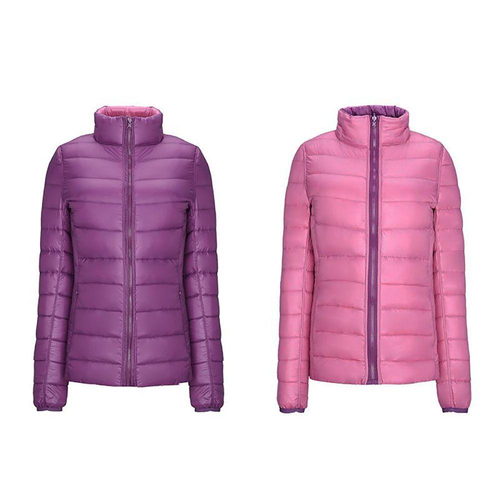 Veste pour femme Hiver Down Vestes Femmes Ultra Lumière Automne Jacket Basic Famale Famale Vestes Double côté réversible Revêtement chaud réversible