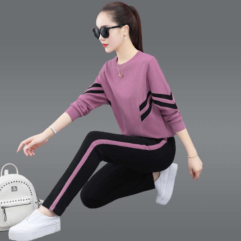 Cuello redondo Traje deportivo Otoño invierno 2020 Nueva moda casual relajado estilo extranjero de manga larga suéter de algodón conjunto de dos piezas