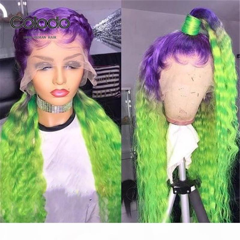 Colodo Purple Green Ombre кружева передние человеческие парики волос 13x4 цветные волосы для волос Heake Braze Brazilian Remy прозрачный