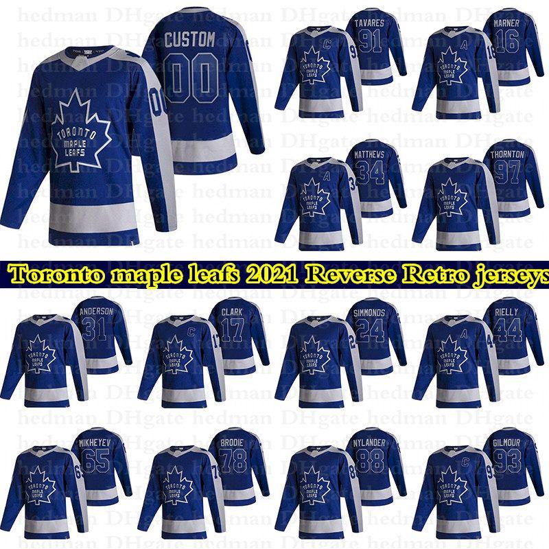 Toronto Maple Leafs 2021 Reverse Retro Jerseys 91 John Tavares 34 Auston Matthews 16 Marner Personalize Qualquer Número Qualquer Nome Hóquei Jersey