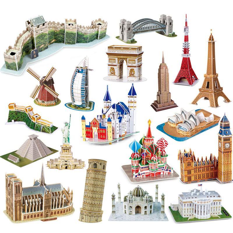 Großhandel 3D Puzzle weltberühmte Gebäude Papier Material DIY Kinder Pädagogische Puzzle Spielzeug