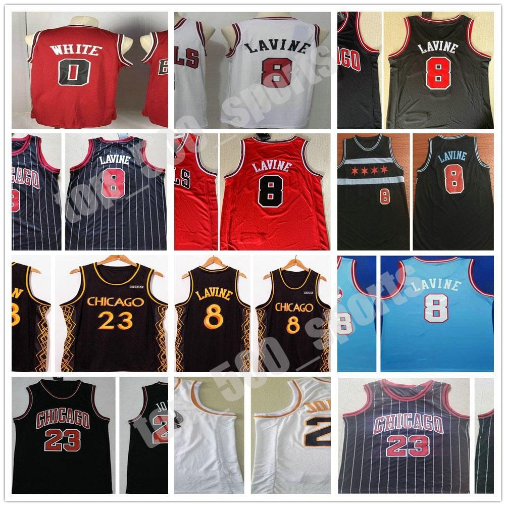 스티치 남자 2021 도시 블랙 골드 코비 0 화이트 zach 8 라빈 저지 농구 빨간색 흰색 셔츠 수 놓은 자수 빠른 배송