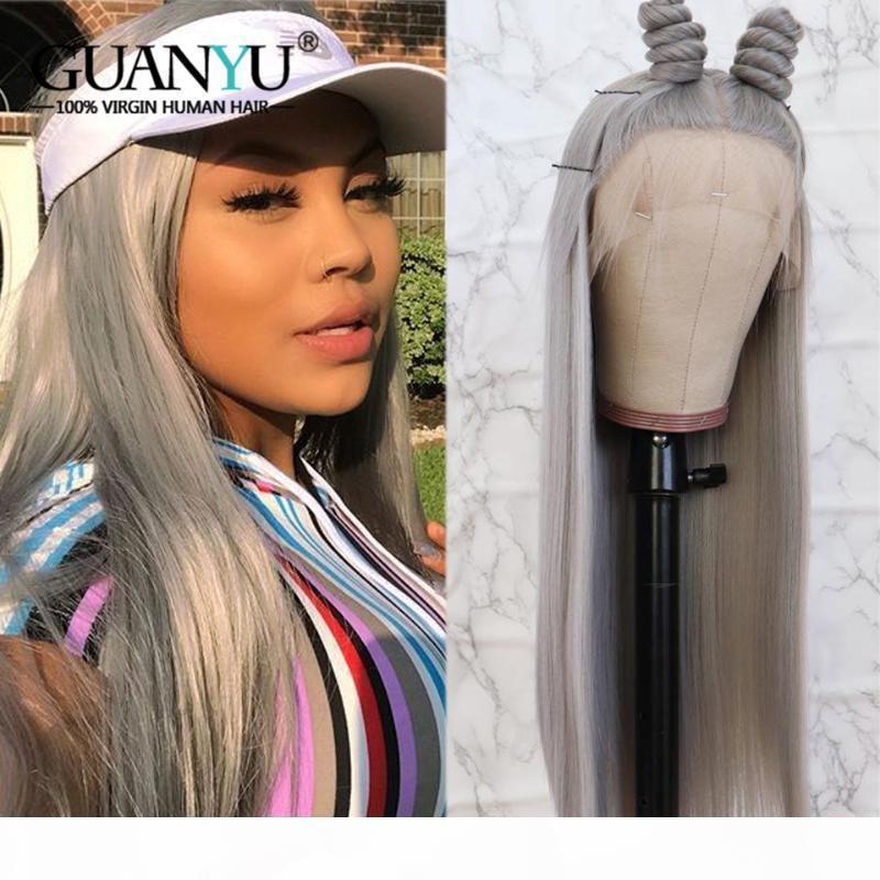 Pelucas de cabello humano de encaje completo gris Preparado con cabello bebé Remy Brasil Rubia Rosa Pelucas rojas azules para mujeres negras 150% Densidad