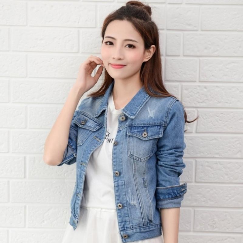 Женские куртки женщины джинсовая куртка светло-голубой короткие джинсы повседневная разорванная женщина тонкий с длинным рукавом леди женщины плюс размер S-2xL1