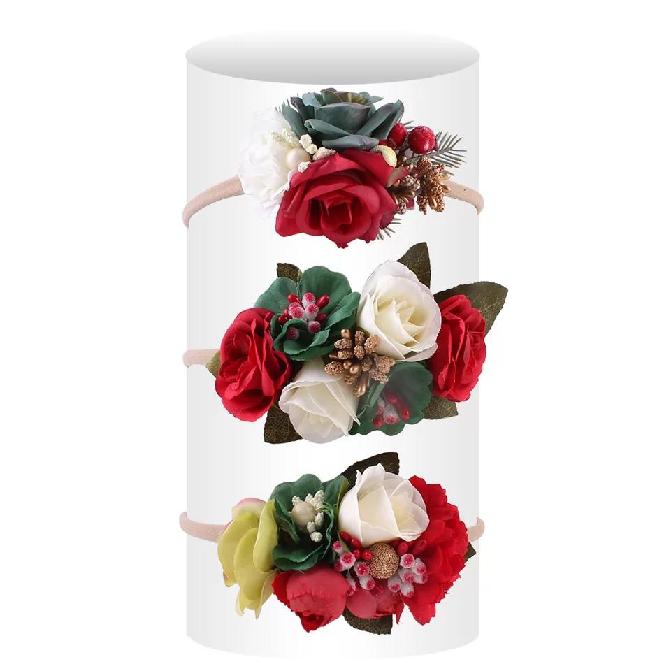 Newest 3pcs One Lot Baby photo head children Camellia around the Sea holiday simulation headdress flower hair band