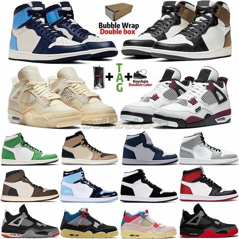 مع صندوق الجوارب حجم 13 Jumpman 1 أحذية رياضية دخان أحذية الرجال لكرة السلة رمادي ترافيس سكوتس UNC 1S شيكاغو توربو الأخضر حجر السج المرأة المدربين