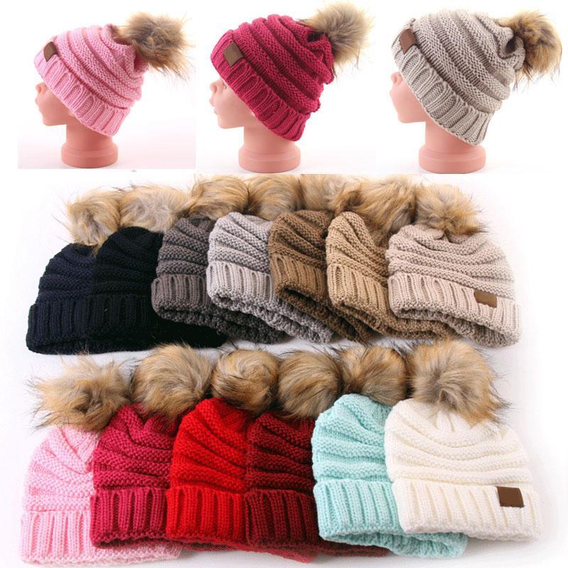 Moda para niños otoño e invierno sombreros de lana sombrero de punto bola de pelo cálido sombrero de punto