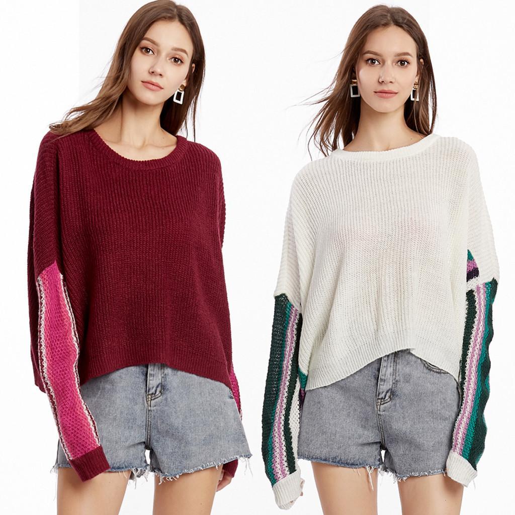 Eillysevens Frauen Rundkragen Bat Sleeve Raiow Streifen Strick Frauen Pullover Pullover 2019 # G20