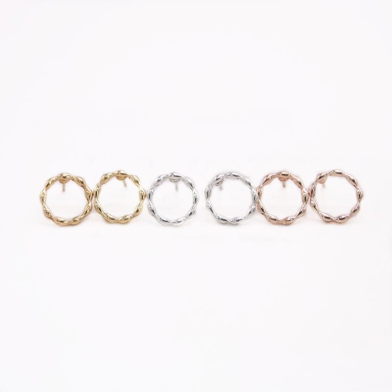 Trendy New Creative Circle Design Stud Earrings Round style Three Color Suitable for Women