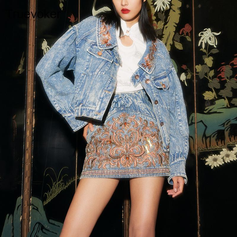 Женские куртки Truevoker взлетно-посадочная дорожка мода джинсовая куртка Высококлассные длинные рукава ретро вышивка алмазная повседневная уличная верхняя одежда