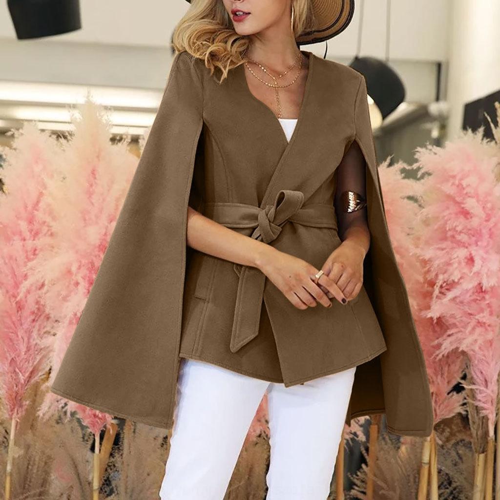 AQAJ 2019 Color Sólido Color Sólido Cardigan Fondo Largo MAN039; S Traje Solicado Mujer