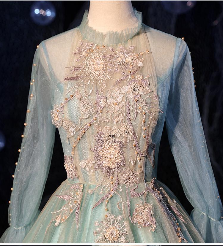 100% echte Stickerei Perlen Langarm Bühne Ballkleid Cosplay Court mittelalterliches Kleid Renaissancekleid Königin Victorian / Marie / Drama / Ballkleid