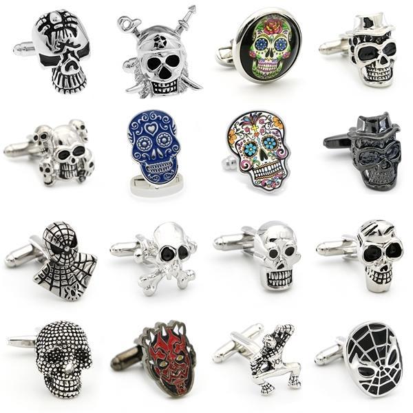 Free Shipping Skull Cufflinks 28 Vintage Skeleton Designs Men's Designer Cuff Links Wholesale&retail Q1219