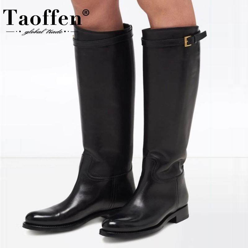 TAOFFEN Plus Size 34-45 Women Knee High Boots Real Leather Plush Fur Woman Long Boots Fashion Shoes Woman Warm Daily Footwear 201127