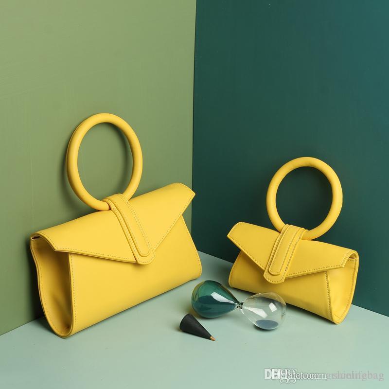Design envelope bag ladies ring candy color handbag ladies fashion yellow one-shoulder wild diagonal small waist bag gift 1072