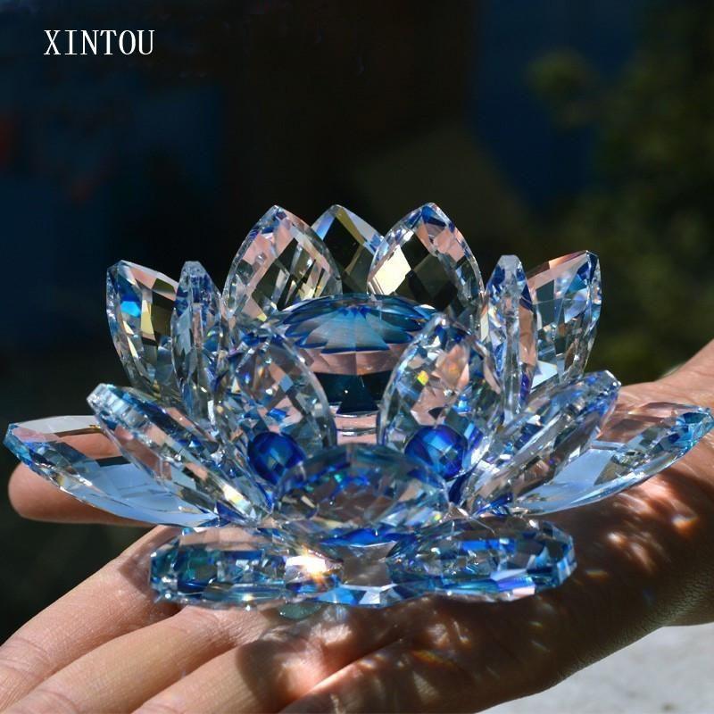 선물 상자가있는 크리스탈 로터스 꽃 9cm 색조 반사 풍수 홈 장식 사진 인형 웨딩 크리스마스 선물