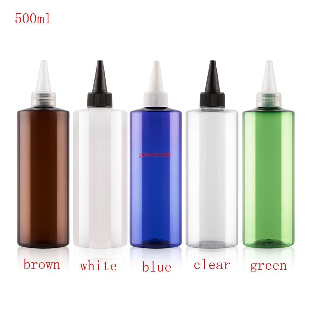 12 шт. 500 мл белый синий коричневый цвет круглый пустой косметический контейнер с заостренным ротом верхняя крышка, DIY жидкий лосьон пластиковый бутылки
