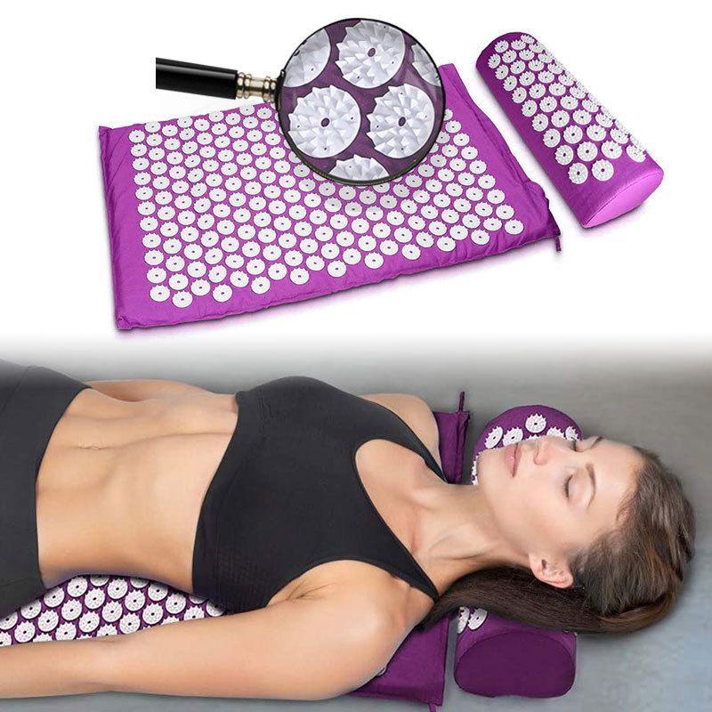 Massager Cushion Yoga Mat Acupressure Aliviar el estrés Relaje Cuerpo Dolor Ejercicio Almohada Deporte Spike Fitness Aplicador Yoga Mat Bag 201202