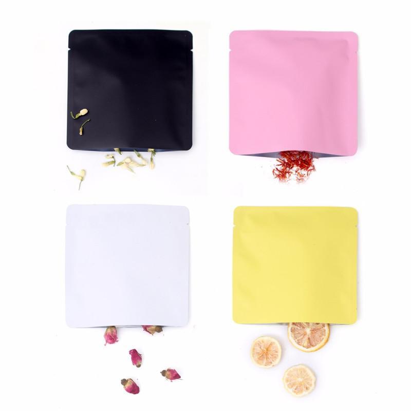 15x15cm diferente cor branca / amarela / rosa / preto calor selável folha de alumínio folha lisa open top pacote bolsa de vácuo GWC4136