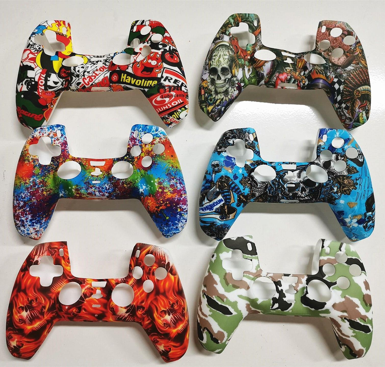 위장 PS5 게임 컨트롤러 플레이 스테이션 5 Gamepad 보호 커버 용 다채로운 소프트 실리콘 케이스 무료 배송