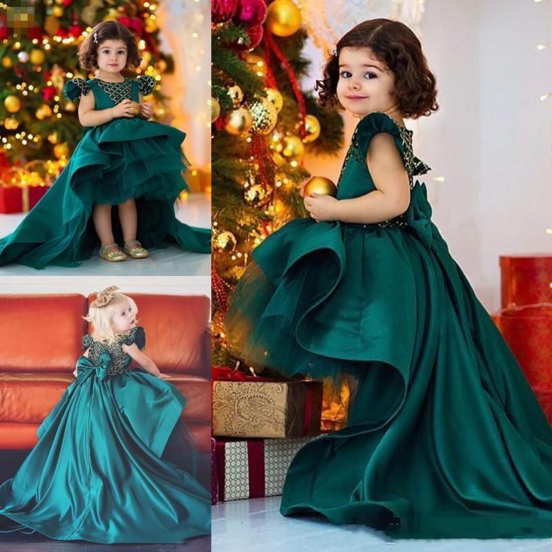 Karanlık Hunter Yeşil Yüksek Düşük Çiçek Kız Elbise Düğün Saten Ve Organze Kızlar için Pageant Communion Gowns Sweep Tren Tutu Etek