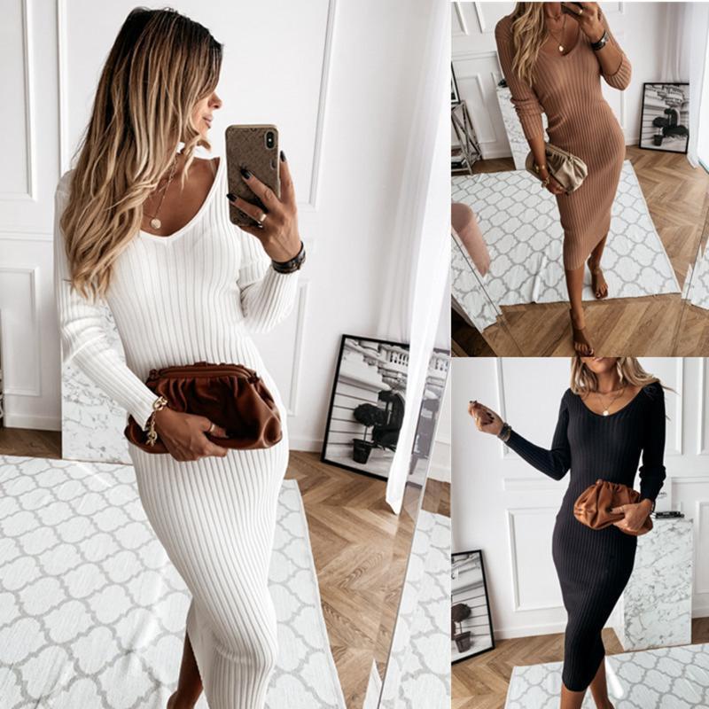 Kadınlar için Günlük Elbiseler kadın giyim Artı Boyutu Elbise Bayan Uzun Kollu V Boyun Örme Kalem Jumper Bayanlar