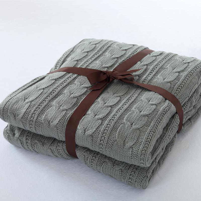 120 * 180 см вязаное одеяло хлопчатобумажный вязаный бросок с доставкой двойной крышкой вязаный свободный кабель теплый супер одеяло мягкое