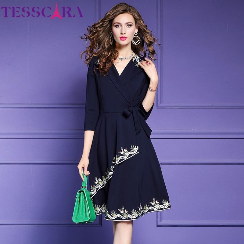Tesscara Femmes automne hiver élégant robe de broderie femme femme de bureau robe de haute qualité designer femmes vintage vestidos lj201130