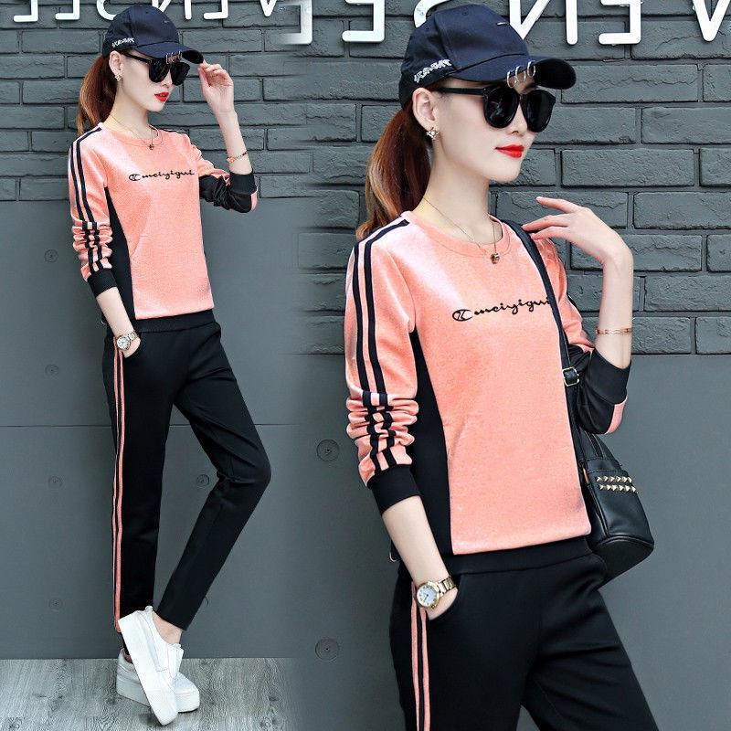Мода спортивные напряженные стройные 2 нежный набор Herfst новый горячий стиль длинный моюн бегущий женщин двойные наборы розовый серый одежда оранжевый