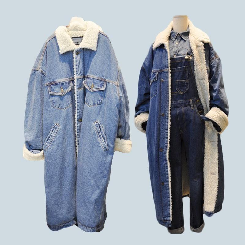 Inverno pelliccia calda dei jeans rivestimento delle donne Allungare Giacca di jeans cappotto femminile con Full caldo rivestimento frontale con bottoni piatti tasche