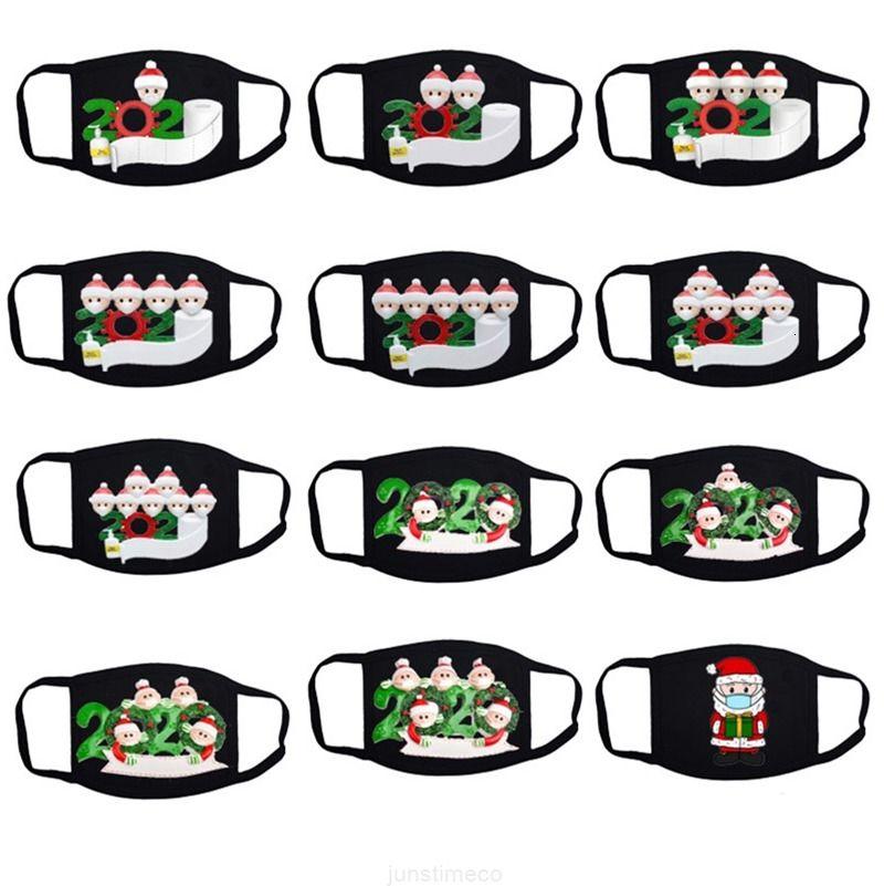 Máscaras 2020 Christmas Inverno Quarentena Cartoon Máscaras de desenhos animados Família adulta de 1 2 3 4 5 6 7 Algodão Facemable Capa de boca reutilizável DHL /