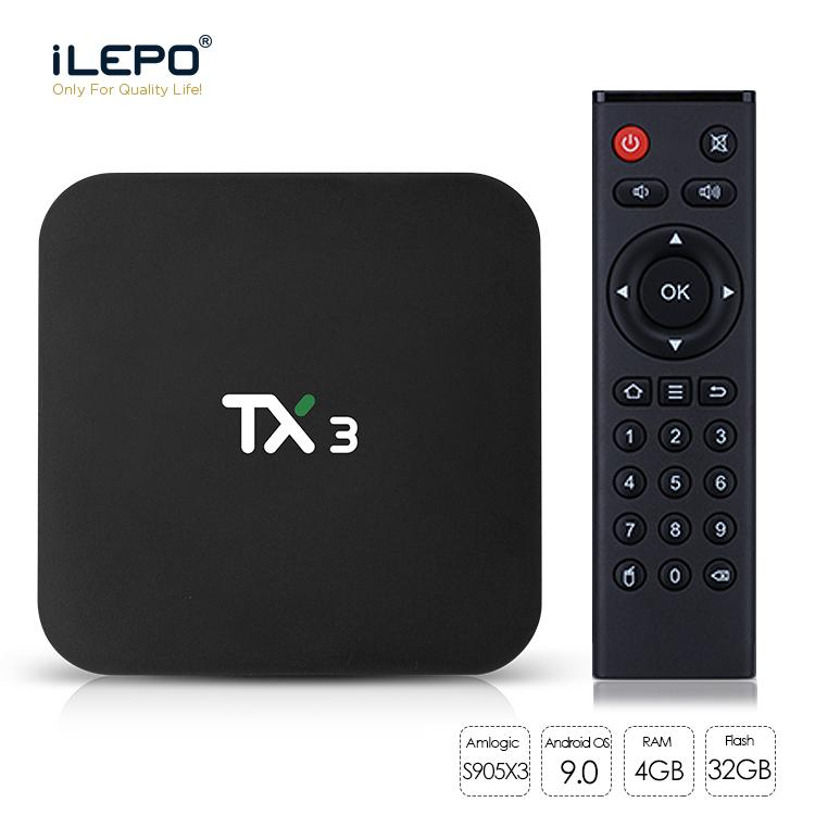 Scatola TV da 4 GB 64 GB TX3 Android 9.0 AMLogic S905x3 32GB Quad Core 2.4G / 5 GHz WiFi BT H.265 8K Media Player