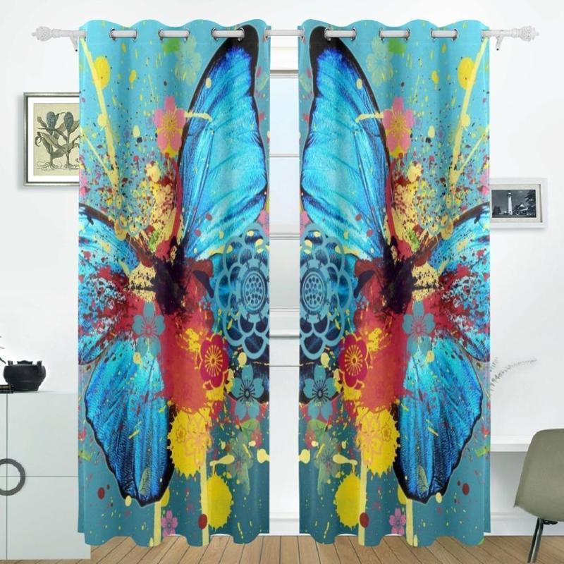 Rideau Rideaux Aquarelle Butterfly Rideaux Panneaux Darking Blackoud Blackout Chambre Diviseur pour la porte Patio Porte en verre coulissant 55x84