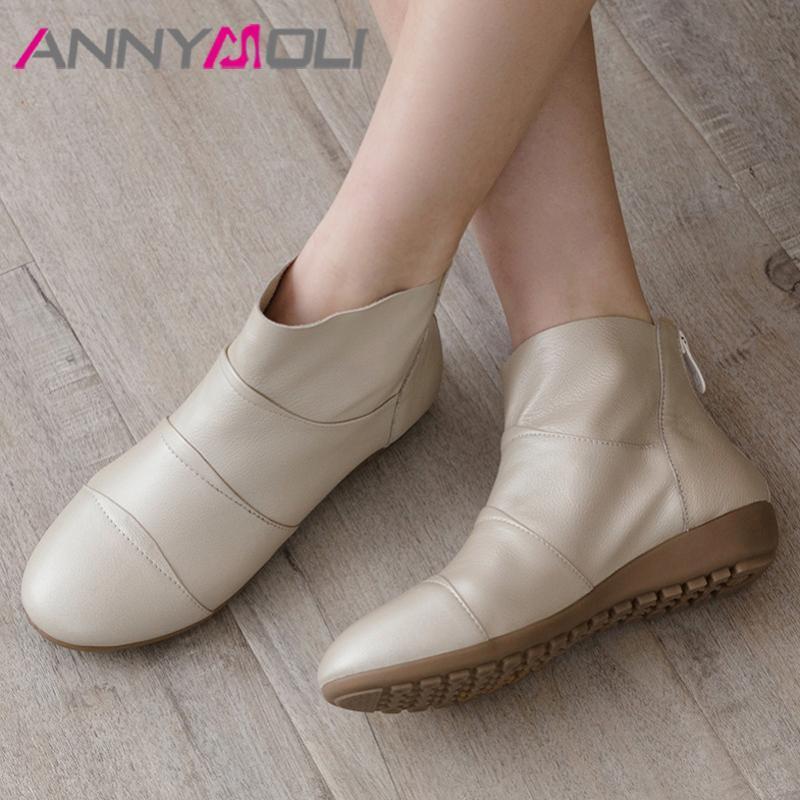 ANNYMOLI Bilek Boots Doğal Gerçek Deri Kadın Çizme Düz Kısa Yuvarlak Burun Bayanlar Ayakkabı Sonbahar Kış Bej Boyut 44 Zip