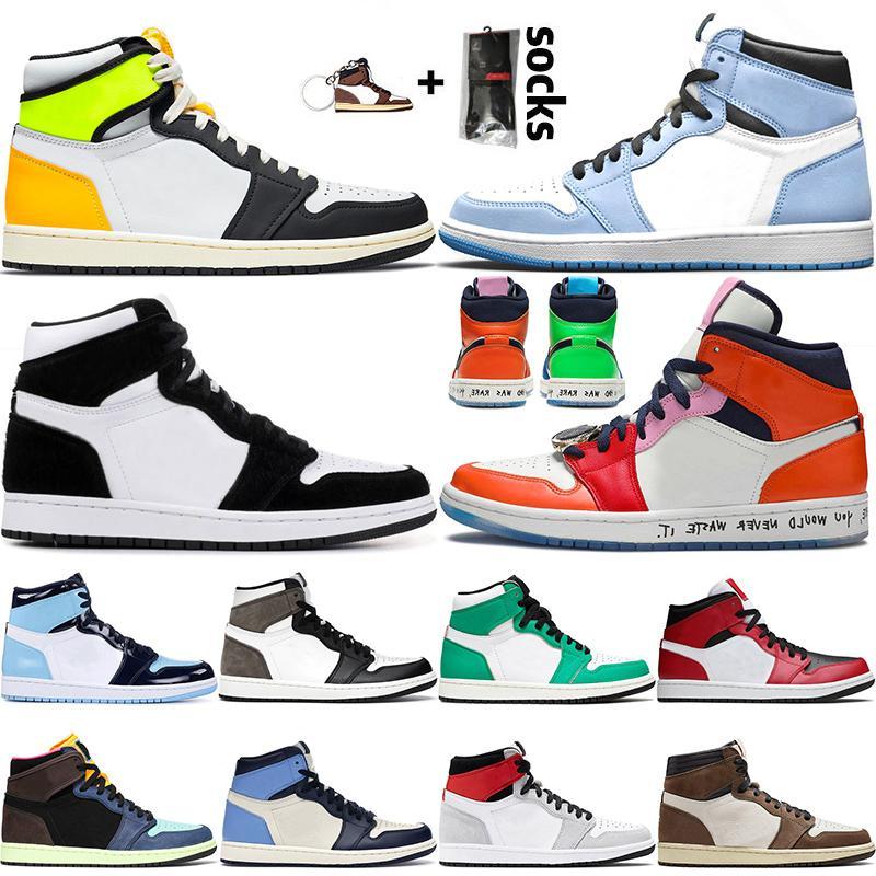retro 1 1s off white حذاء كرة السلة تويست Jumpman 1 1s عالي الجودة من فولت ذهبي جامعة أزرق خائف للرجال والنساء عالية الظلام موكا ميد سبج UNC المدربين 36-46