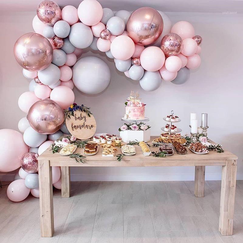 Macaron Balloons Arch Kit Pastel Gris Pink Balloons Rose Garland Rose Gold Confetti Globos Mariage Partie de mariage Décor Baby Douche Fournitures1