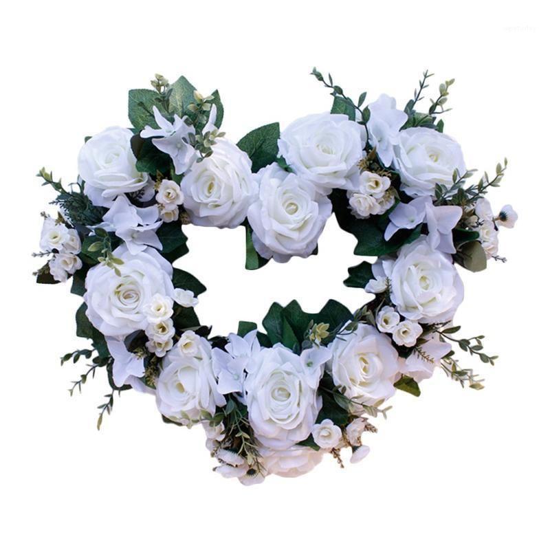 Corona del cuore appeso, corona di fiori di rosa bianco artificiale per porta da ultimo porta, muro, matrimonio, casa, decorazioni festival1