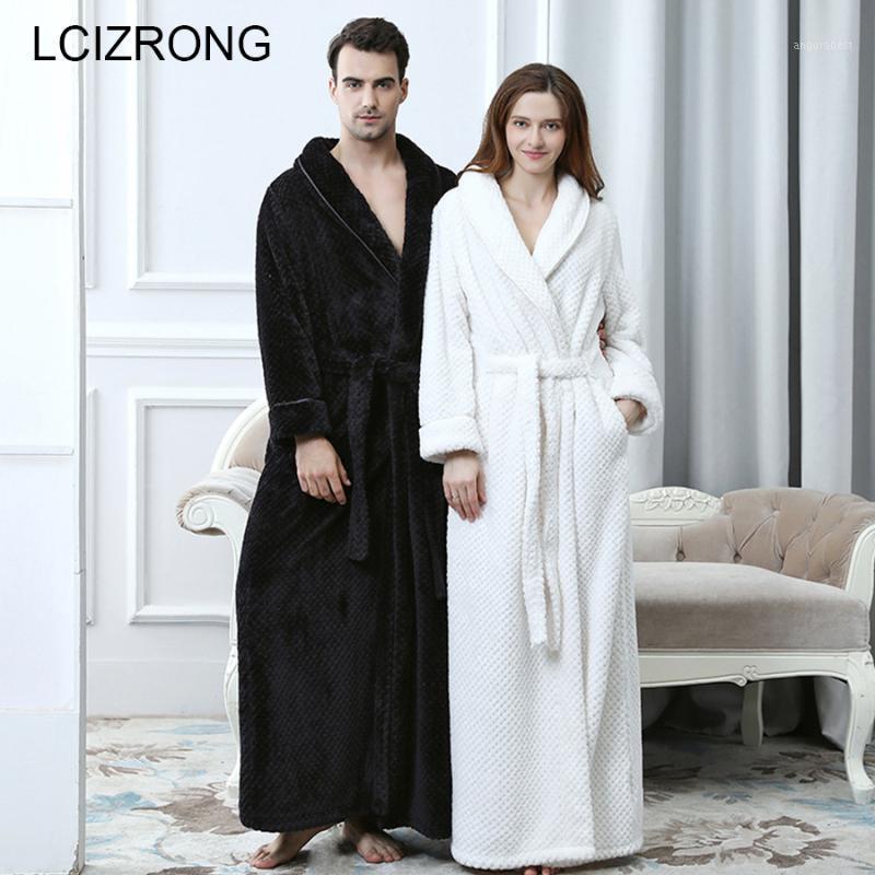 Couple d'hiver Couple de corail Bathrobes Women / Hommes Chaud Long Long Sexy Kimono Bath Robe Plus Taille Taille Robe De Robe De Robe de demoiselle d'honneur femme1