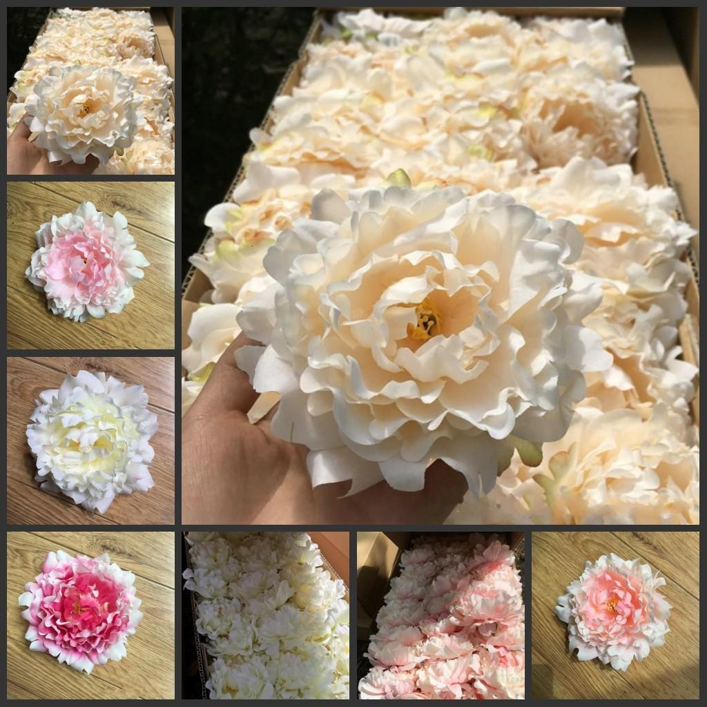 Partido Flores artificiales de boda Peony Peony Cabezas de flores Decoración Suministros Simulación Fake Flower Head Decoraciones para el hogar 15 cm Nuevo