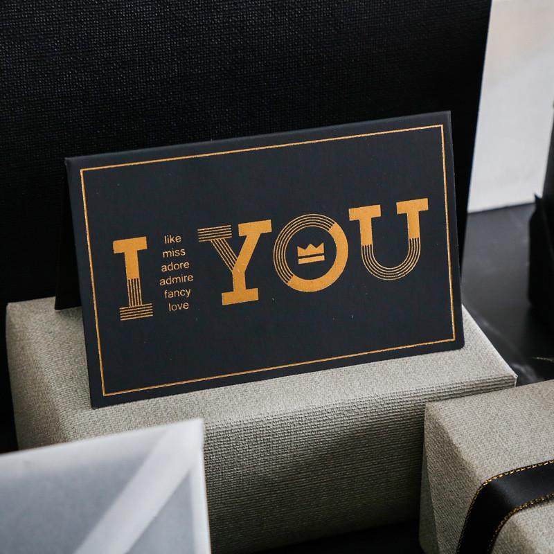 Schwarze Bronzing-Grußkarte danke alles Gute zum Geburtstag Ich liebe dich drucken Hochzeitseinladungen + Umschlagkarten Urlaub Segenkarte CCA2458
