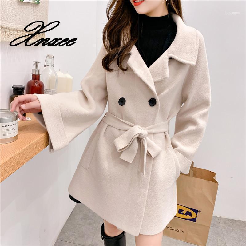Mode solide lange Wollmischung Damen Mantel Lose casual frauenjacke doppelt breasted koreanische frauen mode matoklack1