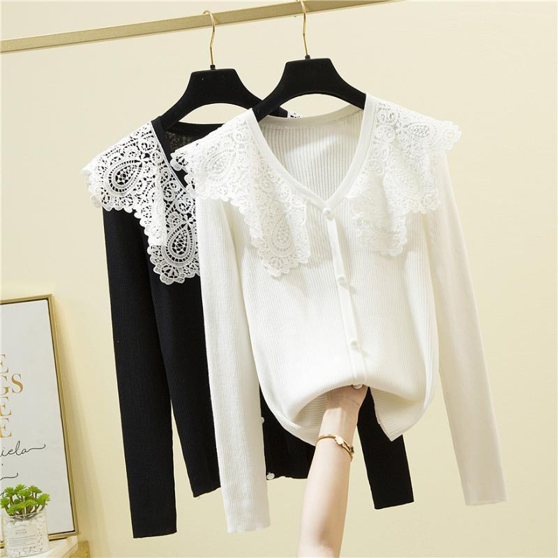 Женские свитера Белый поворотный воротник вязаный свитер Женщины кружевной лоскутный сладкий корейский стиль осень с длинным рукавом пуловеры 2021