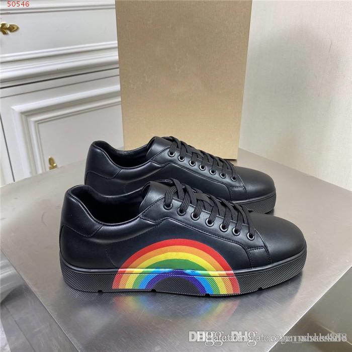 Мужские новые повседневные маленькие белые туфли Радуга узор с низкой верхней шнуровкой износа резиновые плоские повседневные туфли, с оригинальной коробкой
