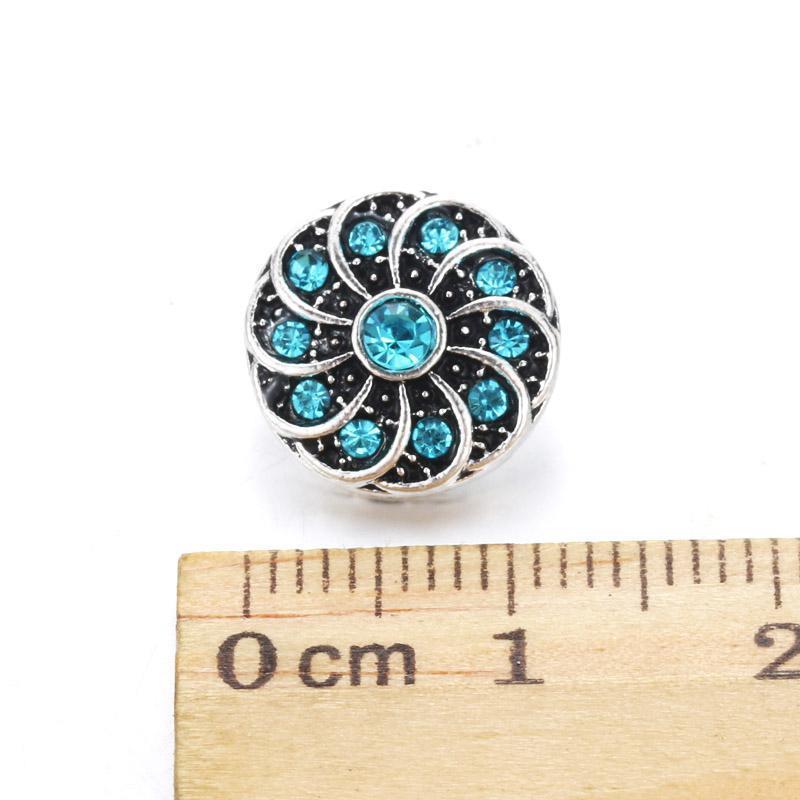 10pcs Lot New Rotate Flower Snap Jewelry 12mm Snap Buttons With Rhinestone Charm Button Fit Snap Bracelets Bangles For Women H qyljqV